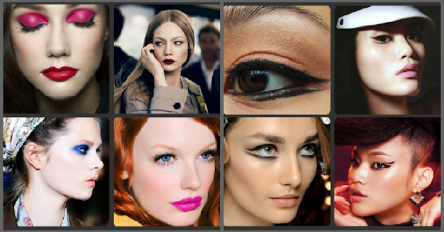 makeup trends, pink lip, blue eyeshadow, pink eyeshadow, winged eyeliner