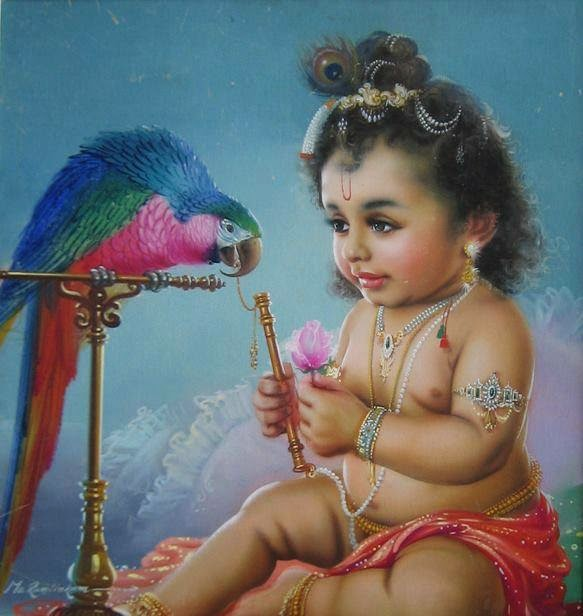Latest Bhagwan Krishna with Parrot Photo Gallery for free download