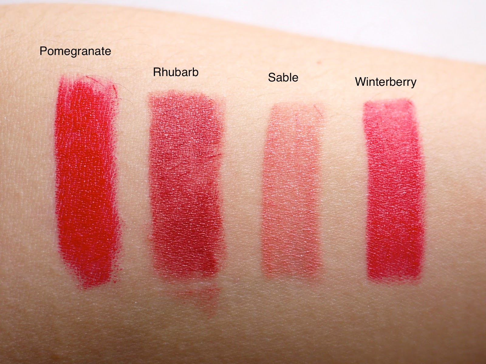 bite high pigment pencil set pomegranate rhubarb sable winterberry swatch review