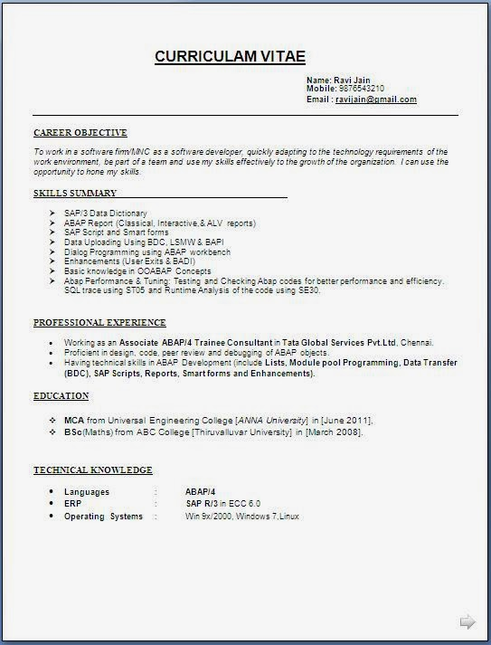sap abap developer resume format