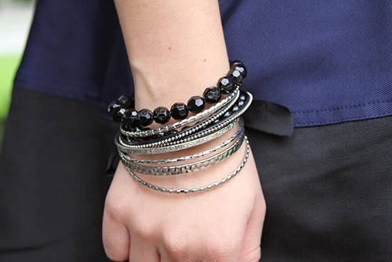 Forever 21 Black Bead and Silver Bangles