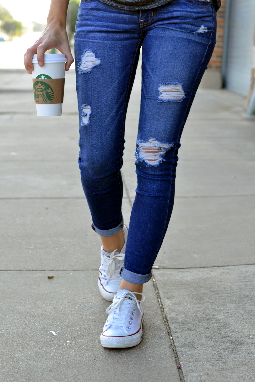 Distressed Jeans, American Eagle, Converse, Starbucks