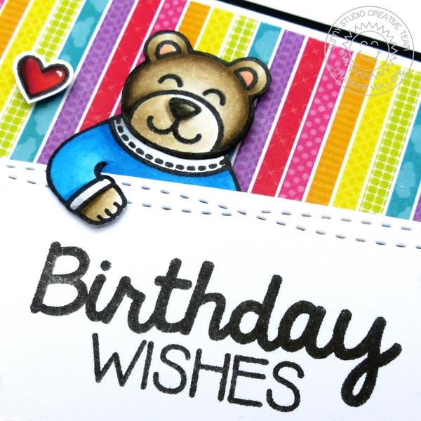 Sunny Studio Stamps Teddy Bear Birthday Card by Francine Vuillème (using Sending My Love & Birthday Smiles stamp sets)