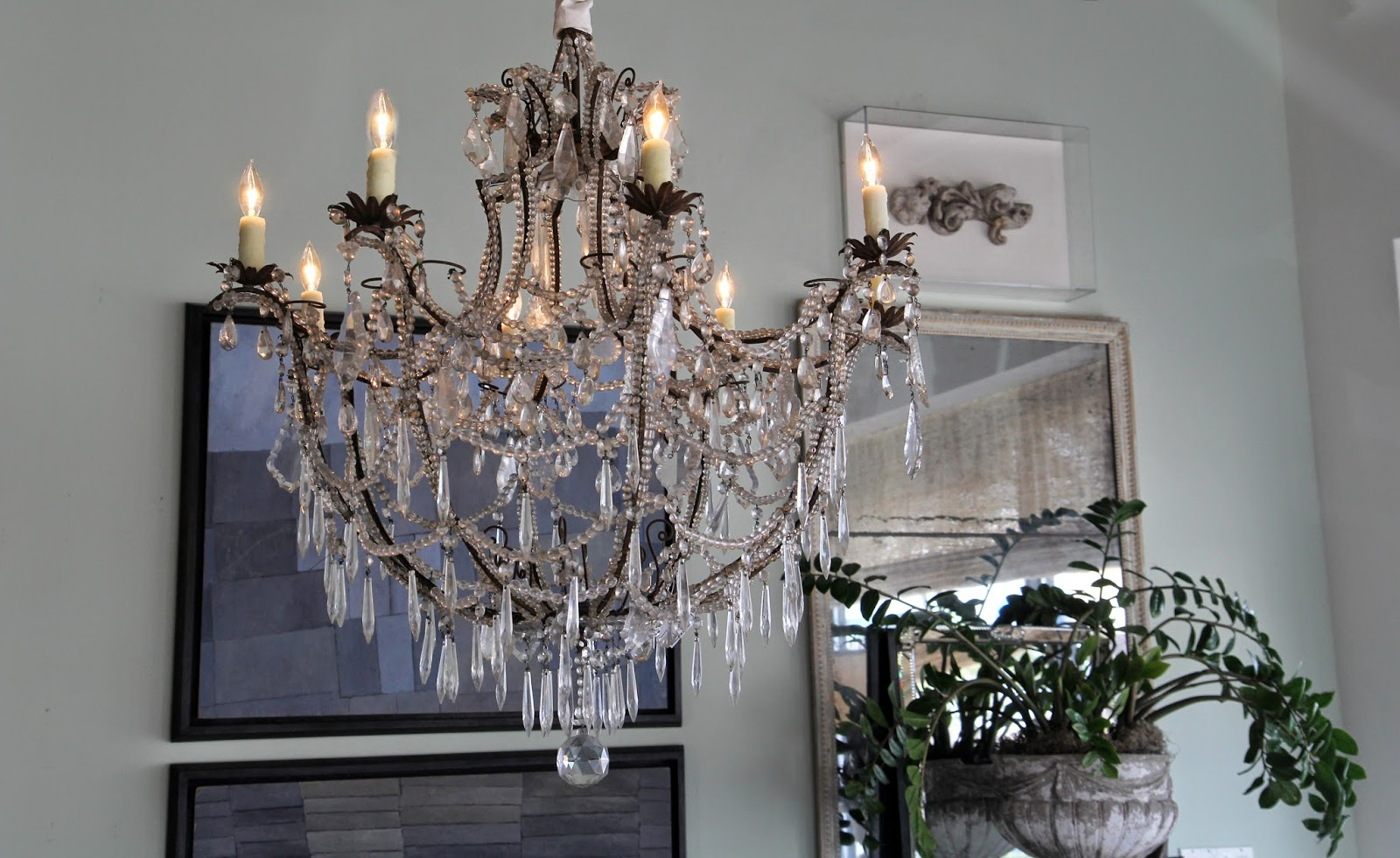 Icicle crystal chandelier; Inspirational Chandeliers and Sconces; Nora's Nest
