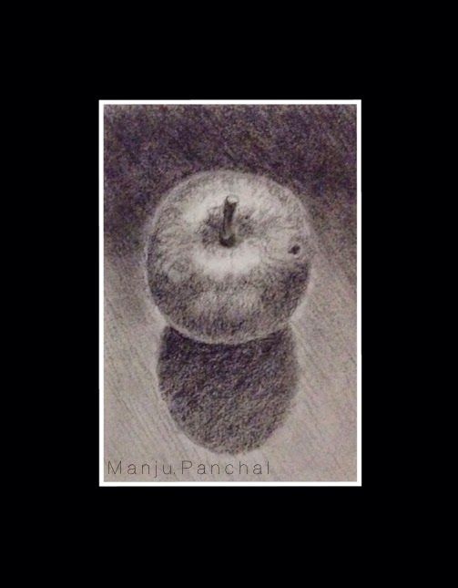 Charcoal painting of an apple with its shadow on cartridge sheet by Manju Panchal