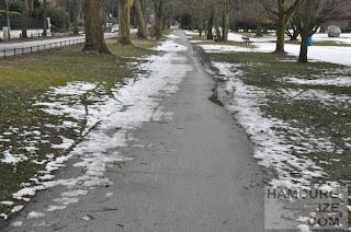 """Fake-Winterdienst: """"Geräumter Radweg"""" Veloroute 4 Alstervorland"""