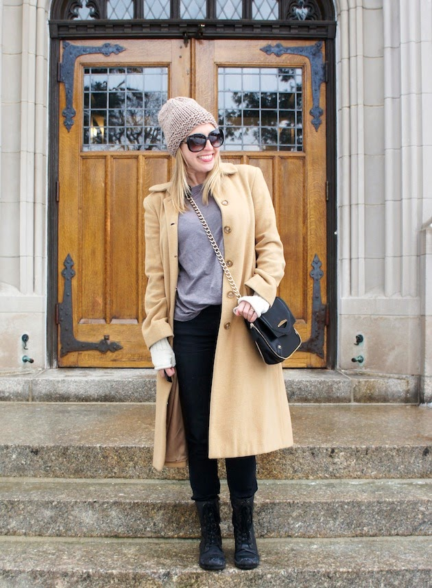 the boston fashionista, gray tee, kensie jeans, camel coat, camel beanie, danielle nicole bag