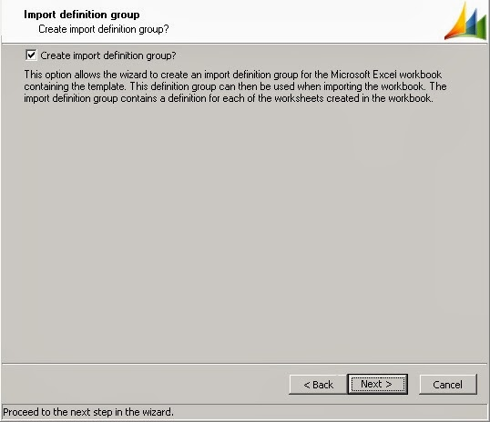 Import definition group tab