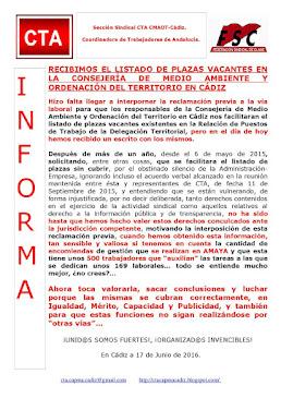 RECIBIMOS EL LISTADO DE PLAZAS VACANTES EN LA CONSEJERÍA DE MEDIO AMBIENTE Y ORDENACIÓN DEL TERRITO