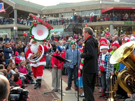 Santa playing tuba at the Tuba Christmas event in Baltimore