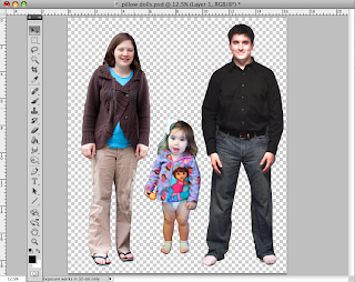 Printed fabric dolls created in Photoshop:  picture of three people in Photoshop