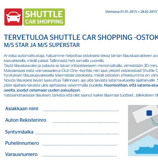 Tallink Shuttle, Hinnasto, Tallinna Tutuksi, Tallinna päiväristeily