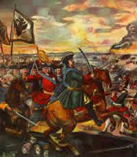 La batalla de Poltava, en la cuál Pedro El Grande resultó victorioso.