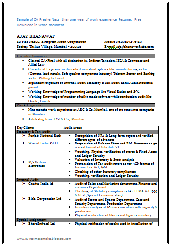 fresher resume format template