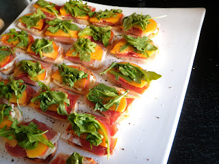 Peach Procuitto Brie Crostini