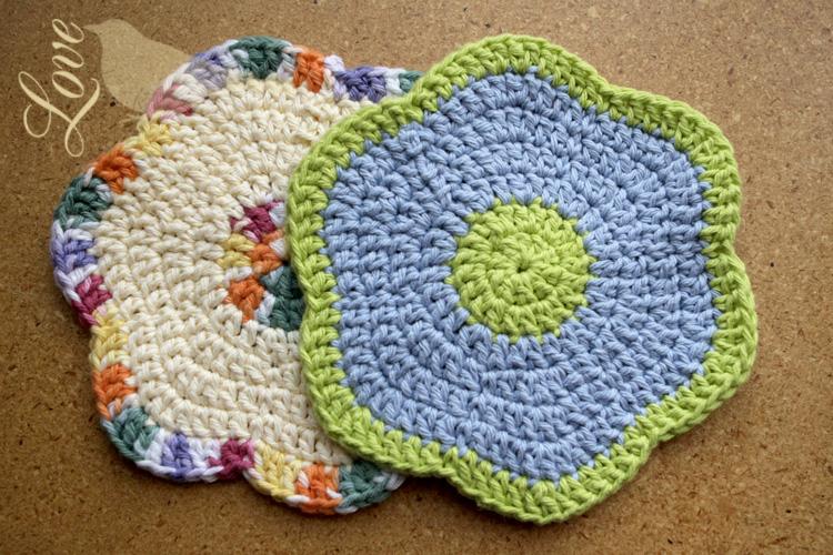 Love The Blue Bird Flower Dish Cloths