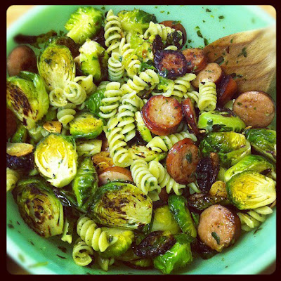 pesto pasta with chicken sausage and brussel sprouts