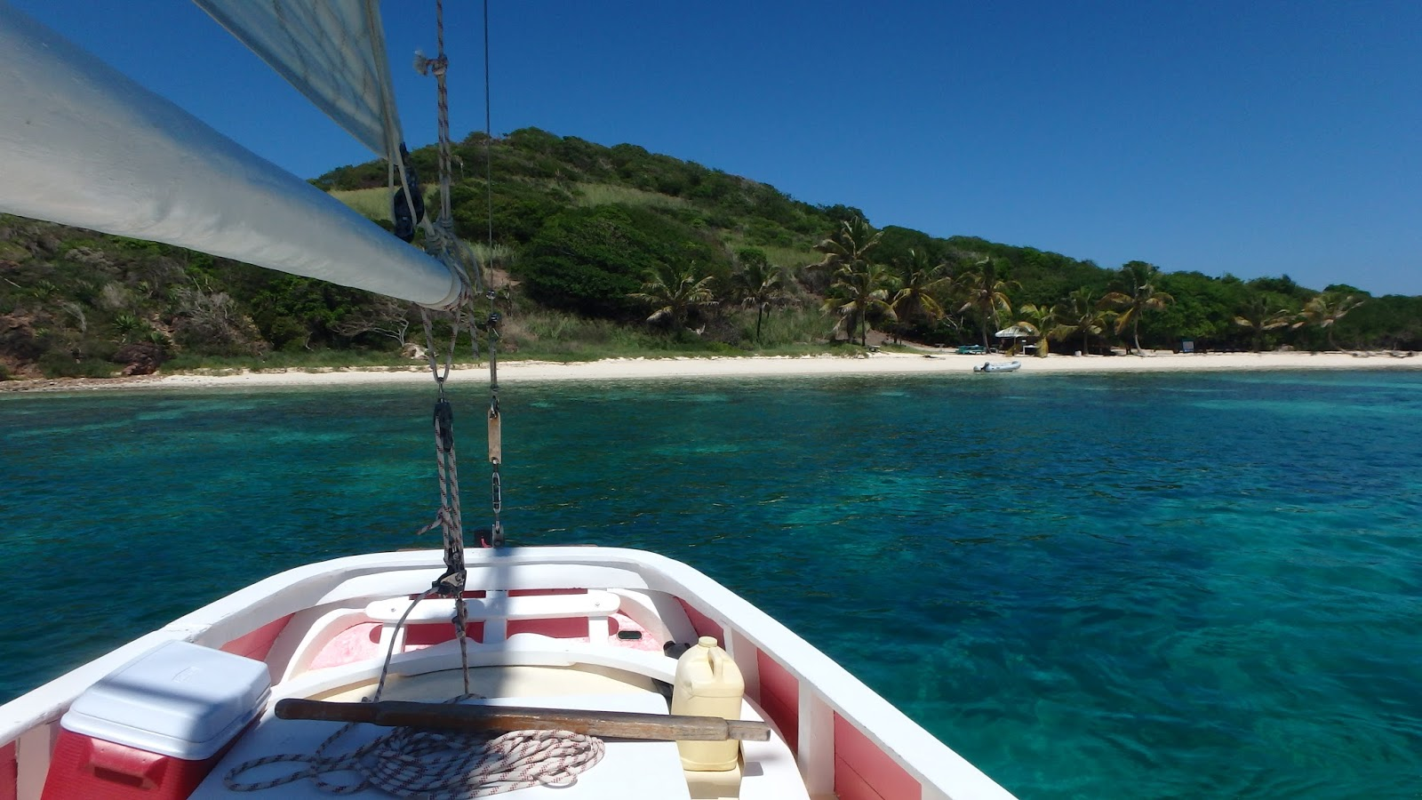Sailing on the Pink Lady in the Tobago Cays in St Vincent and The Grenadines