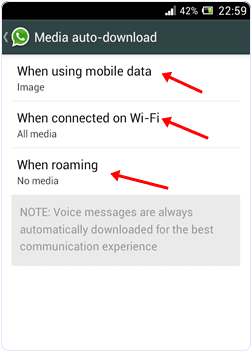 Whatsapp media auto download settings