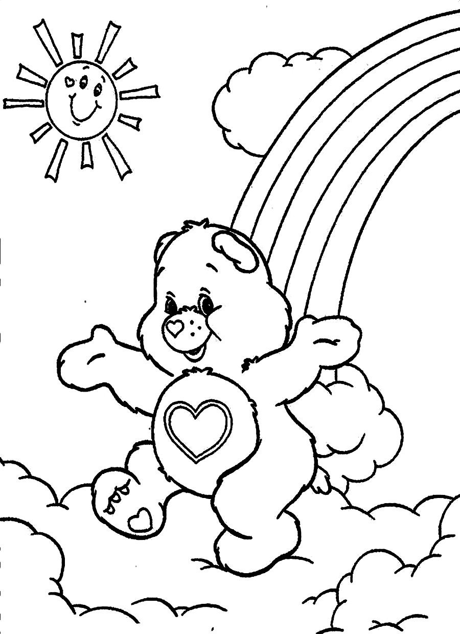 Heart and rainbow coloring pages - Care Bears Colouring Page Kids