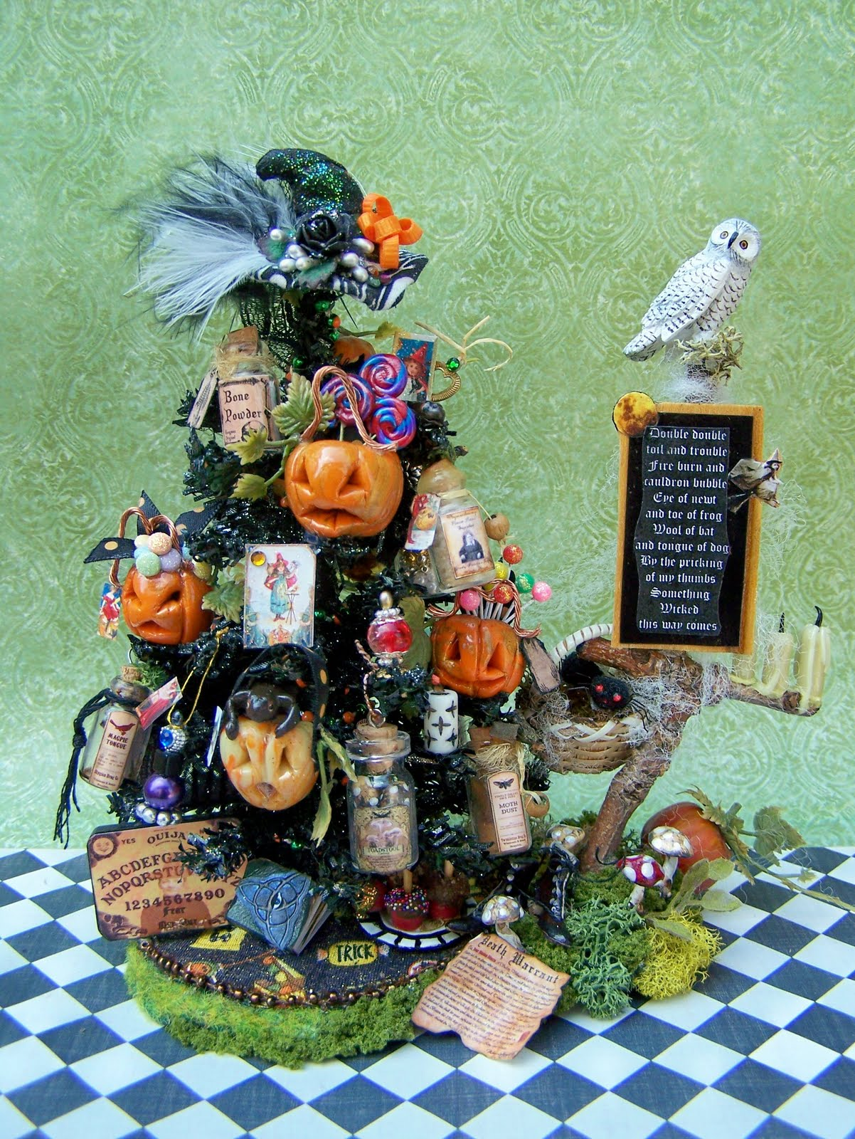 dollhouse miniature macbeth witch halloween tree done and more work on the candy tree