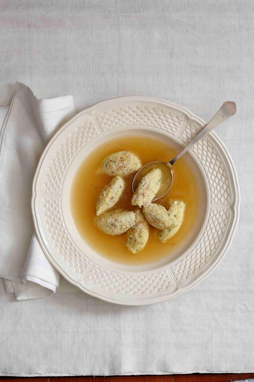 foodwanderings: Fluffy Semolina Dumpling Soup from Domenica Marchetti ...