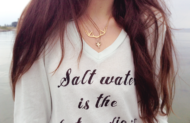 Wildfox Couture beach jumper salt water is the best medicine fashion blogger