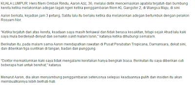 Aaron Aziz Cedera Dalam KL Gangster 2 - HMetro