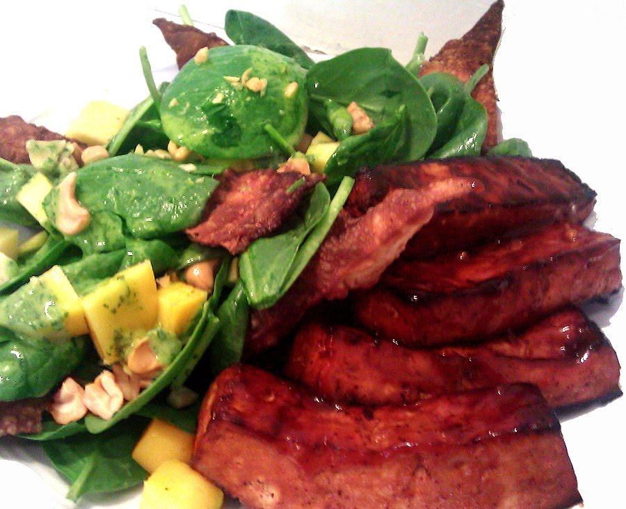 Hatred of Meat: Tofu Drumettes, Mango Avocado Salad, Wonton Crisps