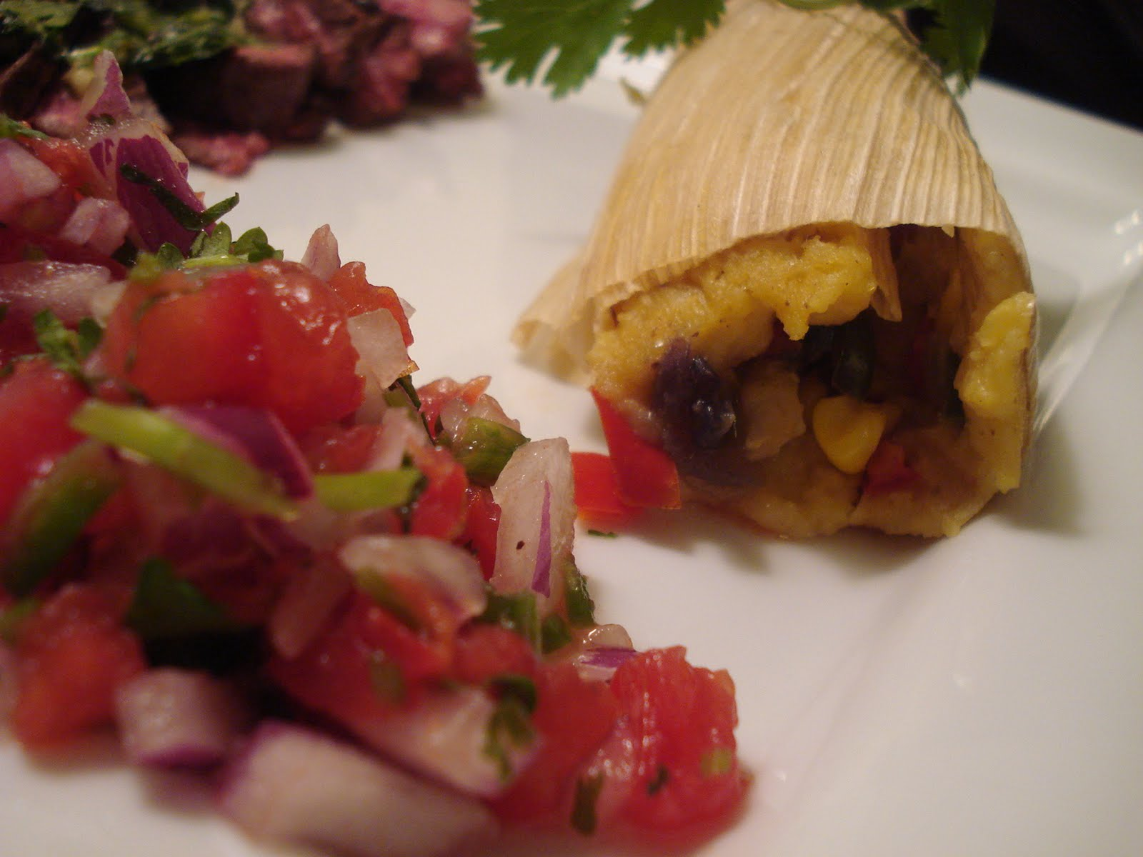 ... Skirt Steak with Roasted Vegetable Tamales and Pico de Gallo