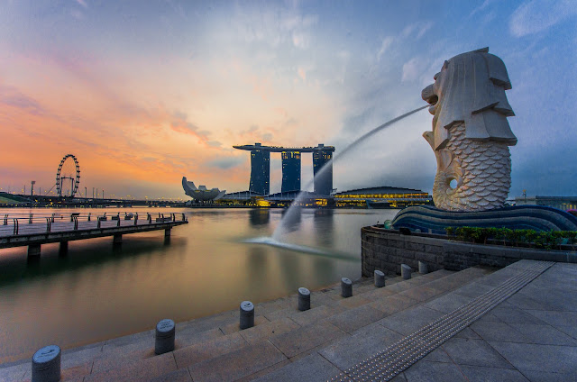 vé máy bay giá rẻ đi Singapore, công viên Merlion