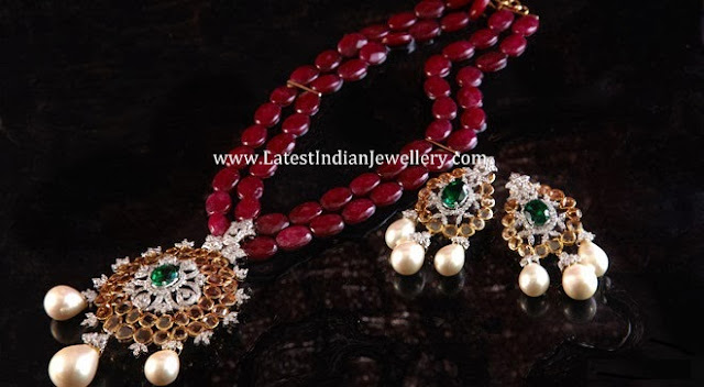 Diamond Pendant Ruby Beads Chain