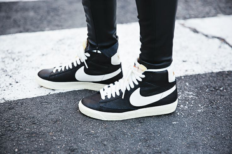 Nike Blazers, black leather