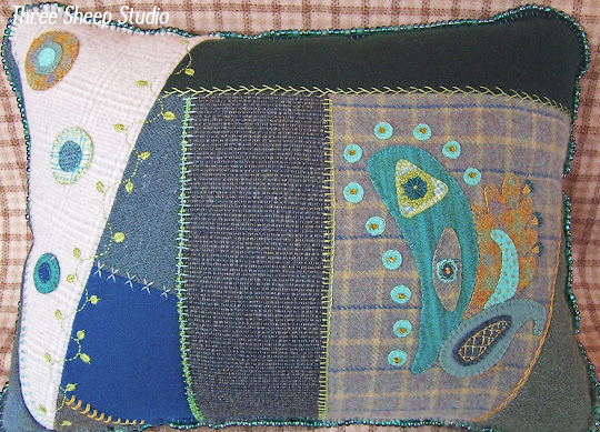 Wool Crazy Quilt Pillow
