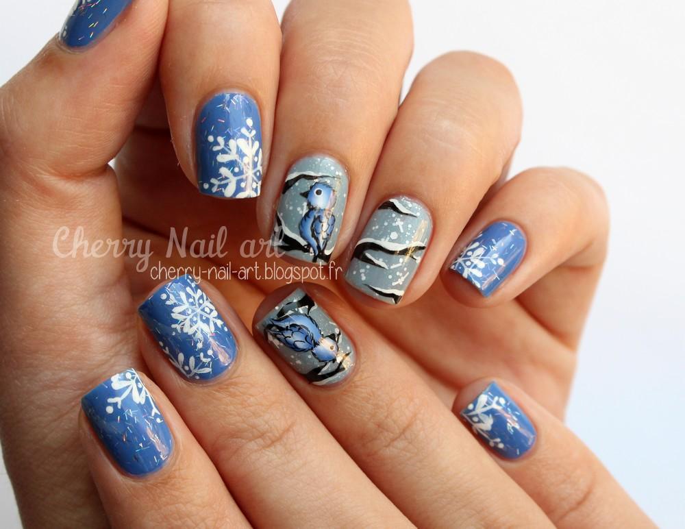 nail art hiver oiseau one stroke et flocons