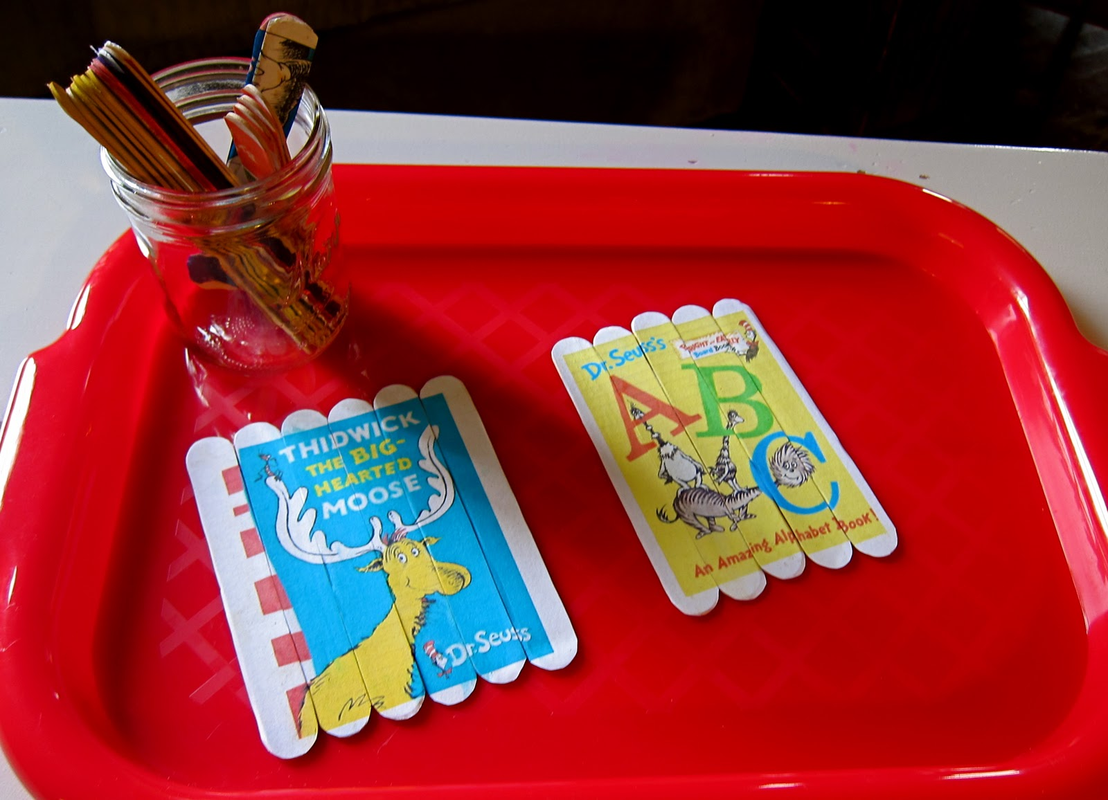 Easy dr seuss crafts - Craft Stick Book Cover Puzzles All Images Were Found Via Google Adhered With Homemade Mod Podge Skills Practiced Fine Motor Problem Solving