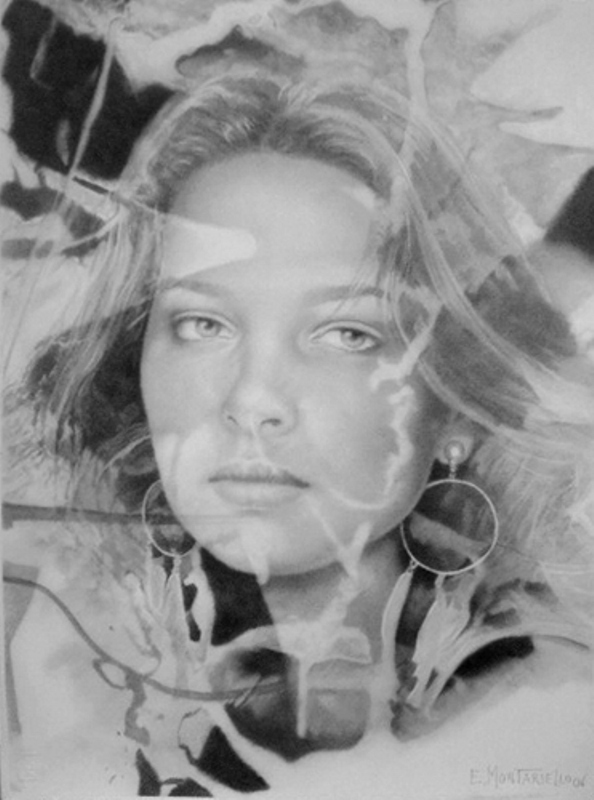 Pinturas cuadros lienzos galeria rostros femeninos l piz sobre papel - Pintura instinto ...