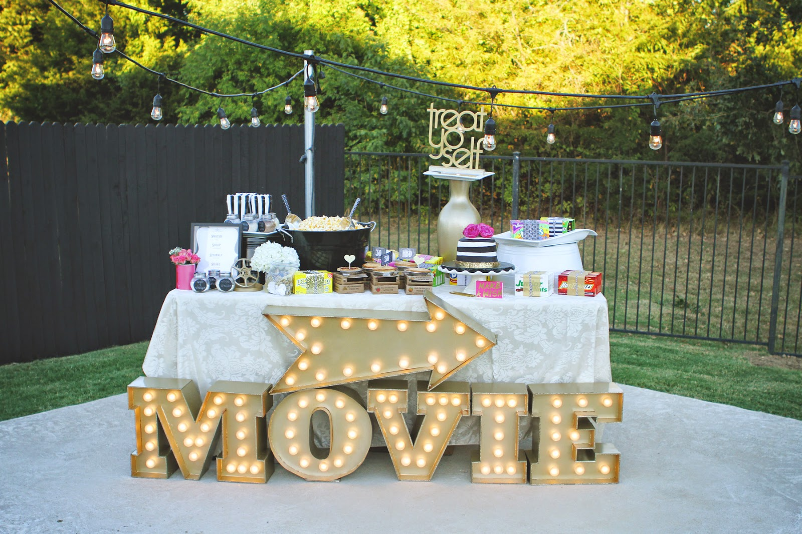 Pb j babes movie night under the stars 30th birthday celebration - Outdoor anniversary party ideas ...