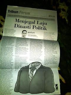 Artikel Cecep Husni Mubarok di Koran Tribun Jabar, Menjegal Laju Dinasti Politik