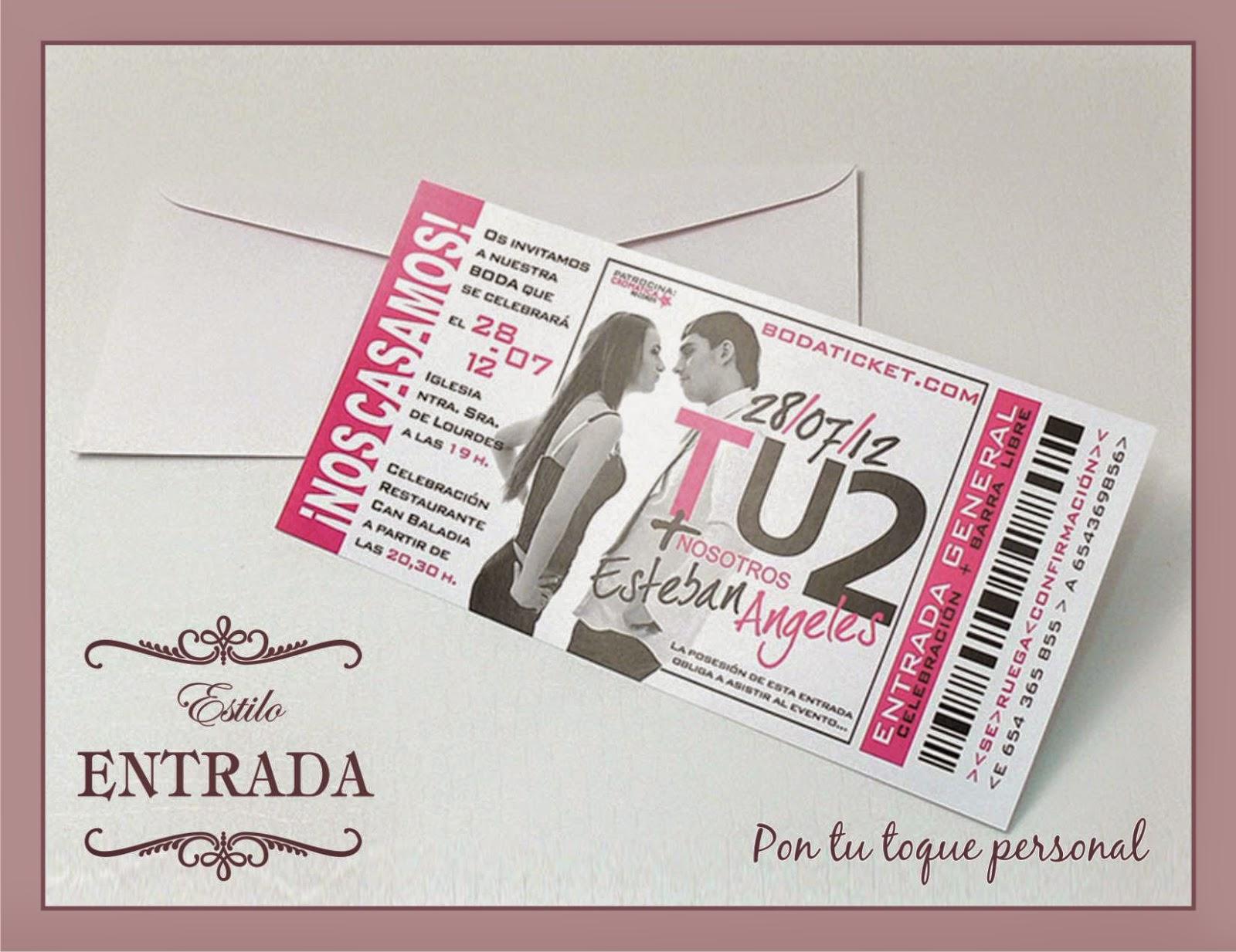 Invitacion boda original entrada concierto