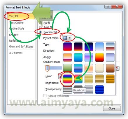 Gambar: Memilih format Preset warna