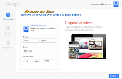 Criando perfil no Google Plus