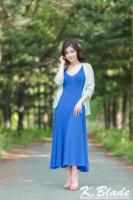 5 Hwang Ga Hi - Blue Maxi - very cute asian girl - girlcute4u.blogspot.com