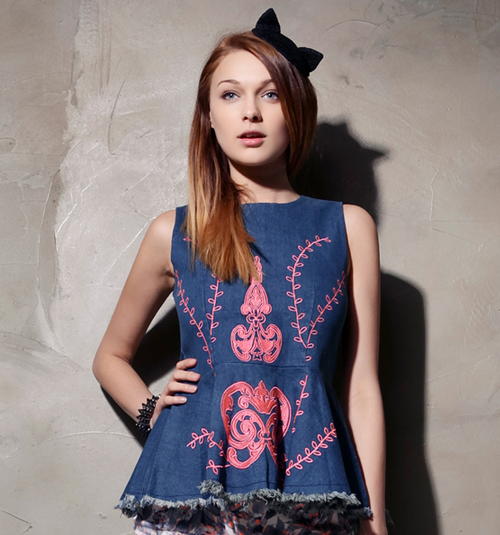 Embroidered Denim Peplum Top