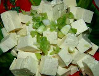 Chinese vegetarians salad recipe with tofu and spring onion