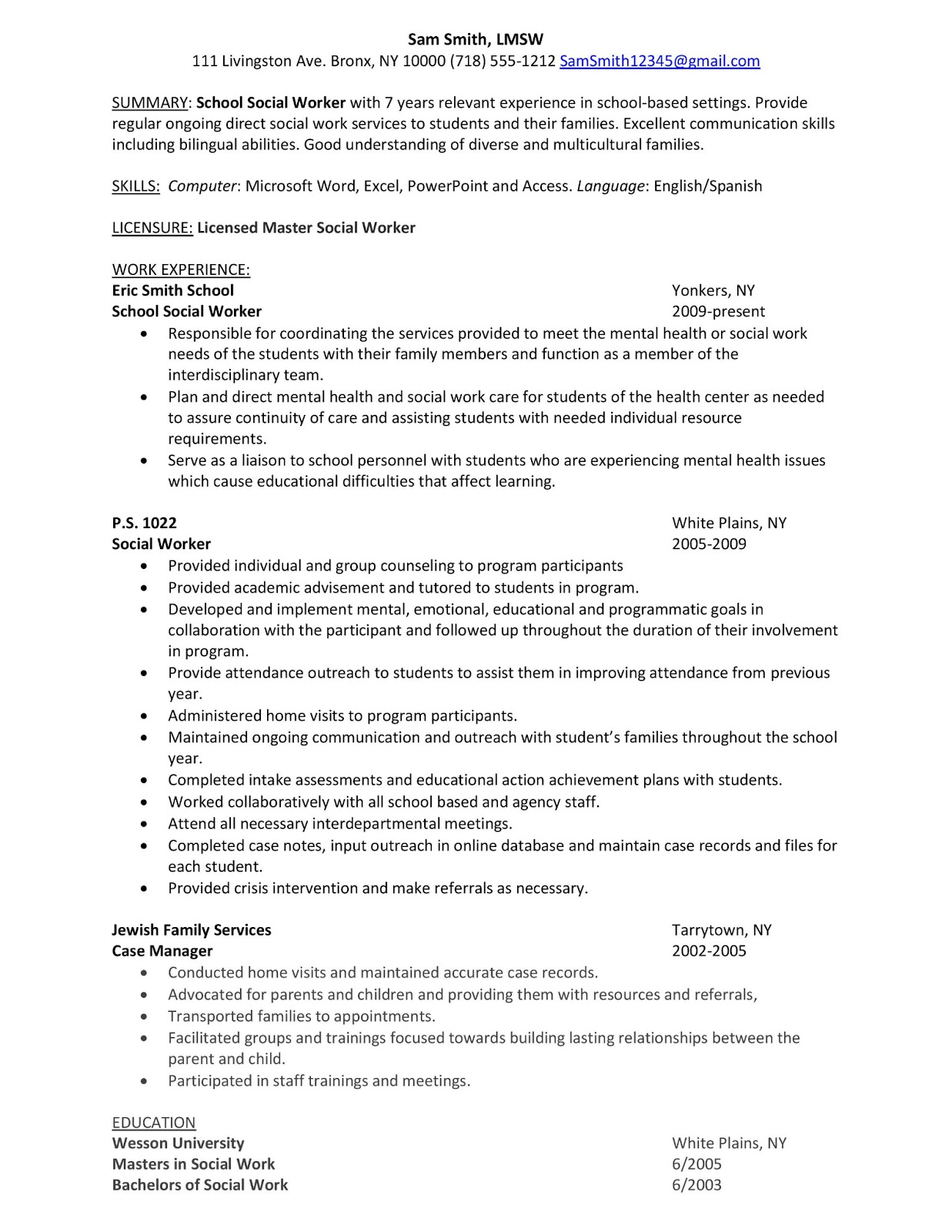 Family Worker Sample Resume