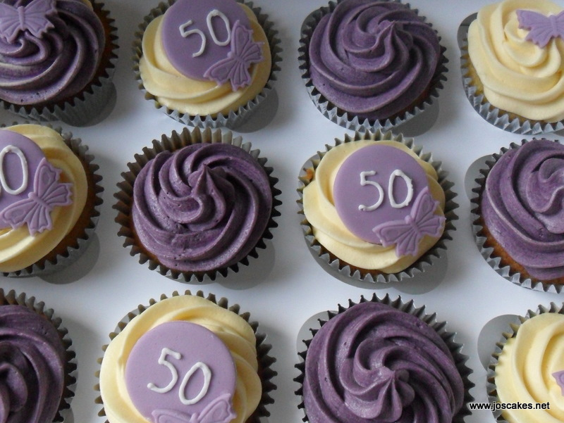 Jos Cakes Purple and Ivory 50th Birthday Cupcakes