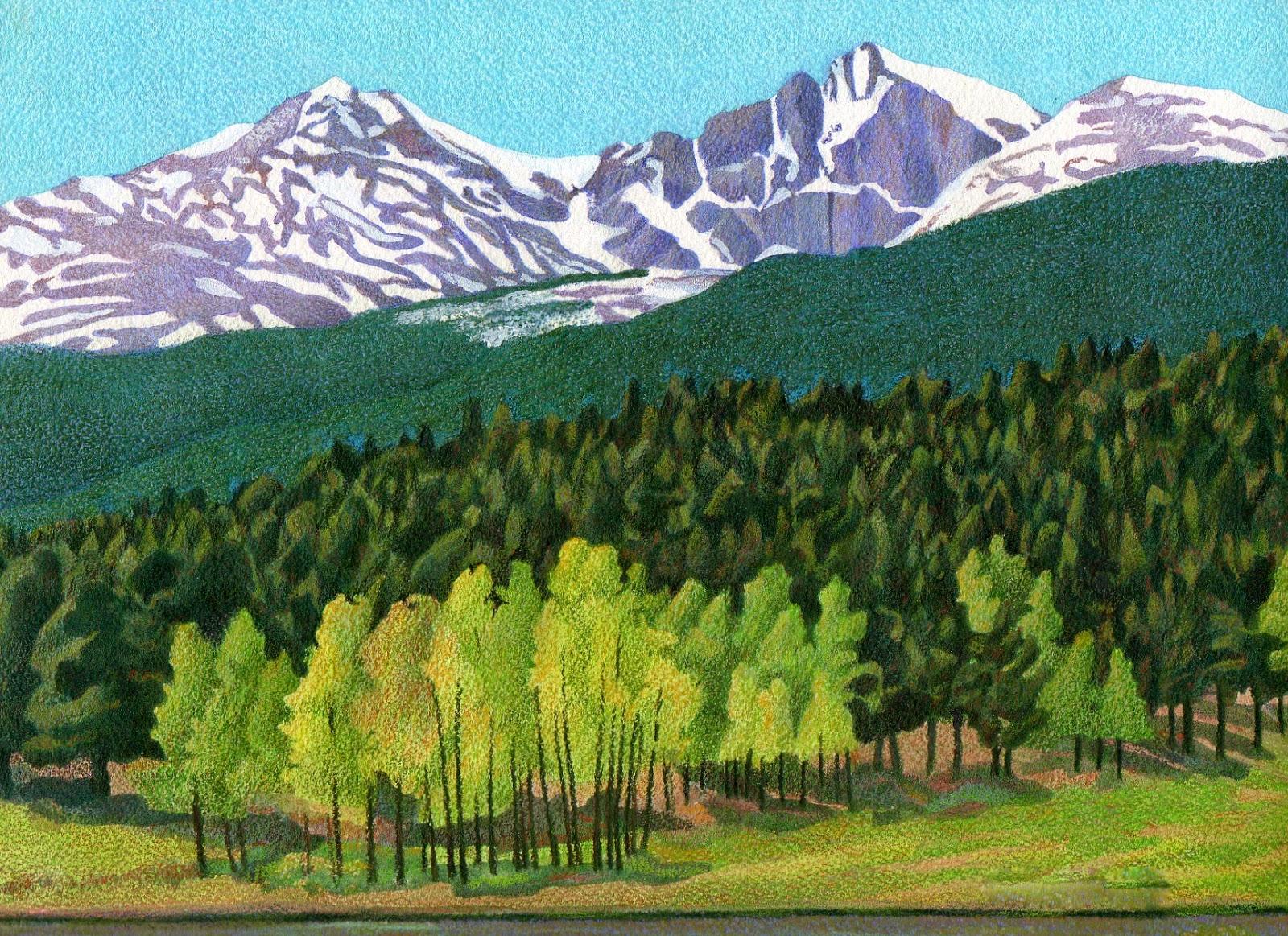 Impression Evergreen: Longs Peak - Colored Pencil Drawing