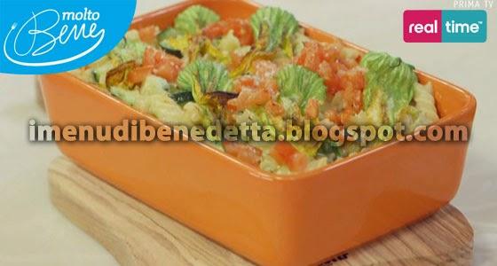 Fusilli Gratinati con Zucchine e Fiori di Zucca di Benedetta Parodi