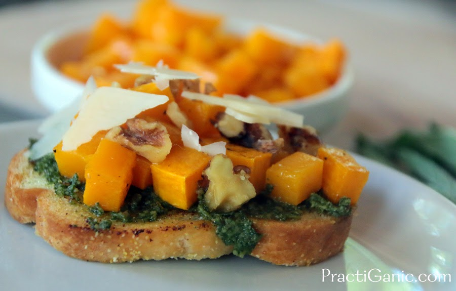 Butternut Squash, Walnut & Sage Pesto Bruschetta